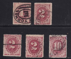 US STAMP POSTAGE DUE USED STAMPS COLLECTION LOT