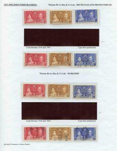 Bechuanaland and Barbados mint and used sets 1937 Coronation Page