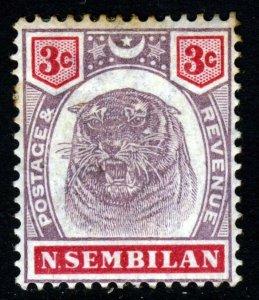 NEGRI SEMBILAN 1895 3 Cent Purple & Carmine Tiger SG 7 MINT
