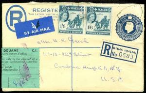 EDW1949SELL : MALTA Nice uprated 1960 Registered Envelope to USA.