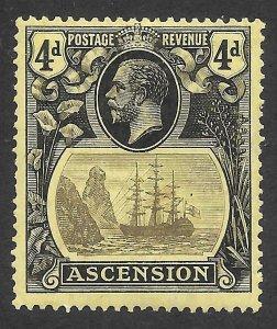 Doyle's_Stamps: MH 1924 British Ascension 4-Pence KGV Scott  #15* VF, cv $60
