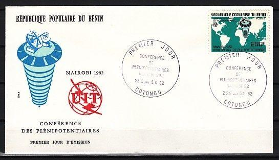 Benin, Scott cat. 533. I.T.U. Conference, Space Satellite on a First Day Cover