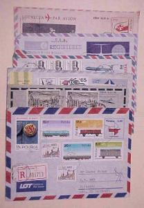 POLAND COVER AIR ENVELOPES REGISTERED 6 DIFF. 5 TO USA, 1 TO DJIBOUTI