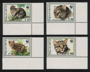 Suriname WWF Little Spotted Cat and Jaguarundi 4v Corners SG#1631-1634