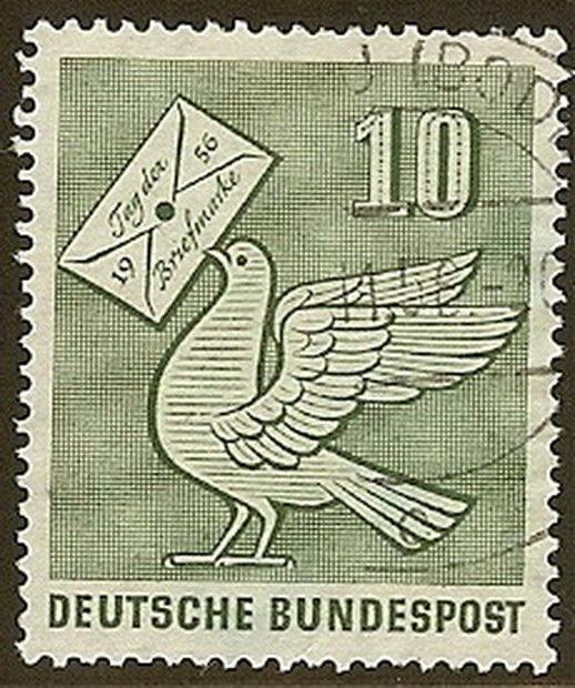 Stamp Germany Sc 0752 1956 Bundespost Stamp Day Pigeon Holding Letter Used