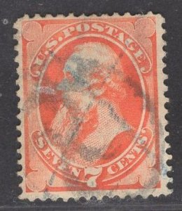 US Stamp #160 7c Orange Vermillion Stanton USED SCV $85.00