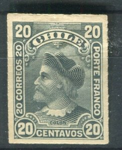 CHILE; 1900 early Columbus Rouletted issue Mint hinged Shade of 20c. value
