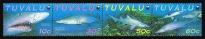 Tuvalu 816 ad strip,816a sheet,MNH.Michel 862-865,klb. WWF 2000,Sand Tiger Shark
