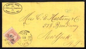 PLANTER'S HOUSE ST. LOUIS, MO 1867 Sc #65 to New York  (981)