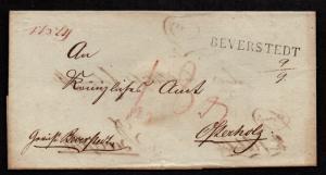 $German Stampless Cover, Beverdtedt--Osterholz, Osterholz-Beverstedt, double use