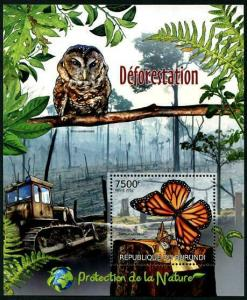 HERRICKSTAMP BURUNDI Sc.# 1131 Deforestation Butterfly Stamp S/S