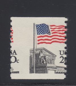 US Sc 1895 MNH. 1981 20c Flag Over Supreme Court, Misperf Coil Single