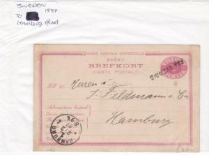 Sweden to hamburg 1887 stamp postcard Ref 8887