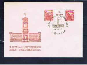EAST GERMANY 1959 DEBRIA PAIR WITH LABEL ON FDC