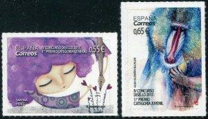 HERRICKSTAMP NEW ISSUES SPAIN Sc.# 4261-62 Stamp Design Contest 2018 Self-Adh.