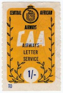 (I.B) Rhodesia Cinderella : Central African Airways Letter Service 1/-