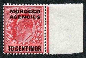 Morocco Agencies SG113a 1907 10c on 1d Bright Scarlet U/M