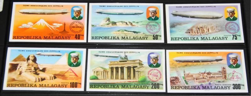 1976 MNH Malagasy Republic Zeppelins, Sc# 545-8, C158-9 Imperforates