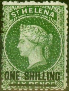 St Helena 1868 1s Deep Yellow-Green SG18 Type B Fine & Fresh Mtd Mint