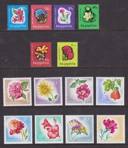 Albania Sc 862/1024 MLH. 1965 and 1967 Flowers, 2 cplt sets, fresh, VF,
