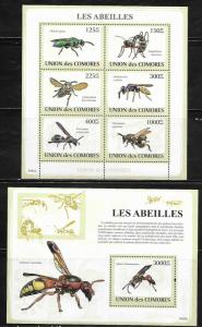 Comoro Islands 1079-80 Bees Mint NH