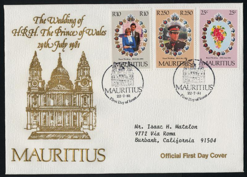 Mauritius 520-2 on Addressed FDC - Royalty, Charles & Diana Wedding, Flowers