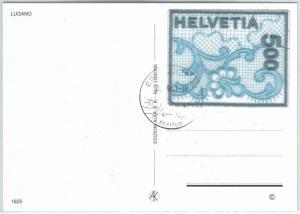 72591 - SWITZERLAND - POSTAL HISTORY -  LACE stamp on postcard 2001
