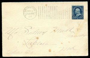 U.S. One Cent First Bureau Issue on 1898 Washington, DC Cover w/Barr-Fyke Cancel