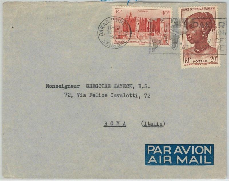 63313 -  SENEGAL - POSTAL HISTORY -  POSTMARK  on  COVER to ITALY  1953 -  MAPS