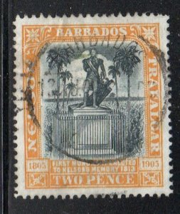 Barbados Sc 105 1906 2d Nelson Monument stamp used