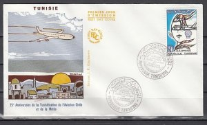 Tunisia, Scott cat. 841. Civil Aviation issue. First Day Cover. ^