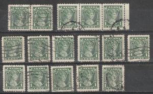 #211 Canada Used strip of 3, pair & singles Princess Elizabeth