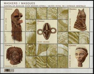 HERRICKSTAMP NEW ISSUES BELGIUM Sc.# 2836 Masks Sheetlet of 5 Different