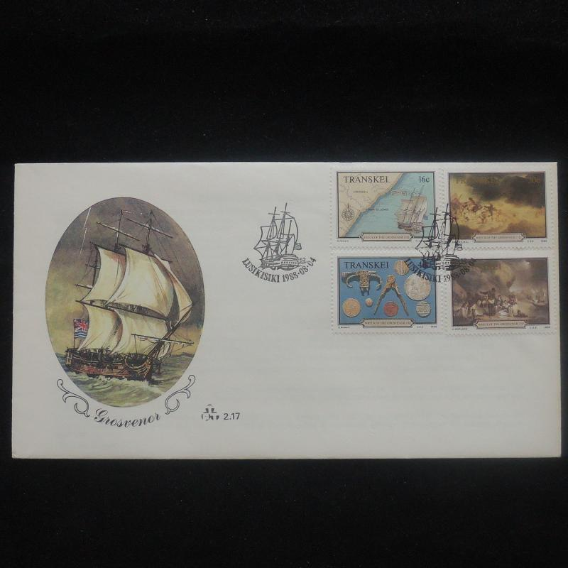 ZS-P198 TRANSKEI - Fdc, Paintings Of Grosvenor, Sea Boat, Wreck 1988 Cover