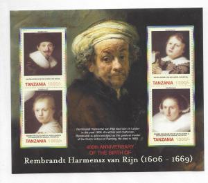 Tanzania, 2422, Paintings - Rembrandt Sheet(4),**MNH**