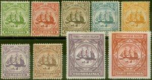 Turks & Caicos Is 1900 set of 9 SG101-109 Fine Lightly Mtd Mint