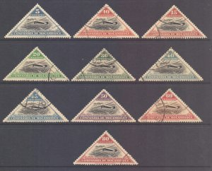 Mozambique Company Scott 165/174 - SG261/270, 1935 Air Route Set used