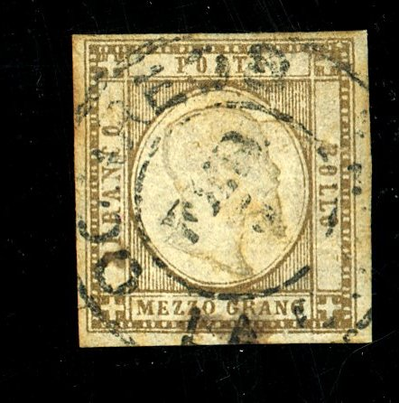 TWO SICILIES #20A USED FVF SM TEAR Cat $400