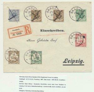 GERMAN EAST AFRICA 1901 REG. COVER SAADANI -FRANKFURT, BAGAMOYO TRANS(SEE BELOW)