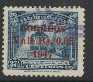 Venezuela 1947 5c on 37 1/2c used South America A4P53F50