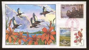1990 Columbus Ohio Black Ducks Waterfowl Milford Hand Painted FDC Stamp #9