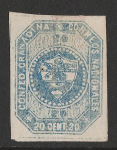 COLOMBIA : 1859 Arms 20c blue, imperf 1st issue.