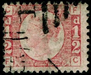 SG49, ½d rose PLATE 20, USED. Cat £75. FC