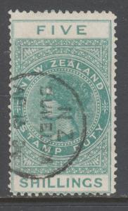 New Zealand Sc AR6, SG F49, used. 1890 5sh green QV Postal Fiscal, sound