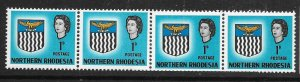 NORTHERN RHODESIA SG76 1963 ARMS 1d DEFINITIVE MNH COIL JOIN STRIP OF 4