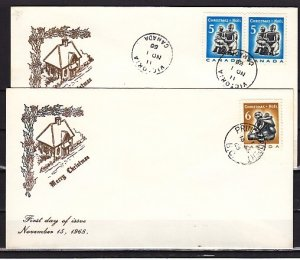 Canada, Scott cat. 488-489. Christmas Sculptures. 2 First day covers. ^