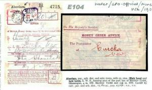 GB Wales MONEY ORDER ADVICE GPO Stationery *Aberdare* 1908 {samwells-covers}E104