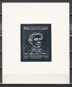 Fujeira, Mi cat. 1405, BL146. President Abraham Lincoln, Silver Foil s/sheet. *