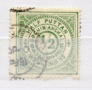 India Cochin 1909 Early Issue used Shade of 1/2p. NW-15935