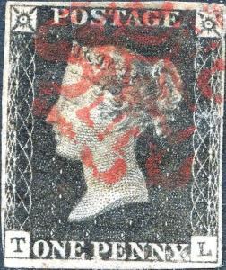 GB #1 PENNY BLACK USED WITH TINY THIN SPOT; XF (APP.) BN7490